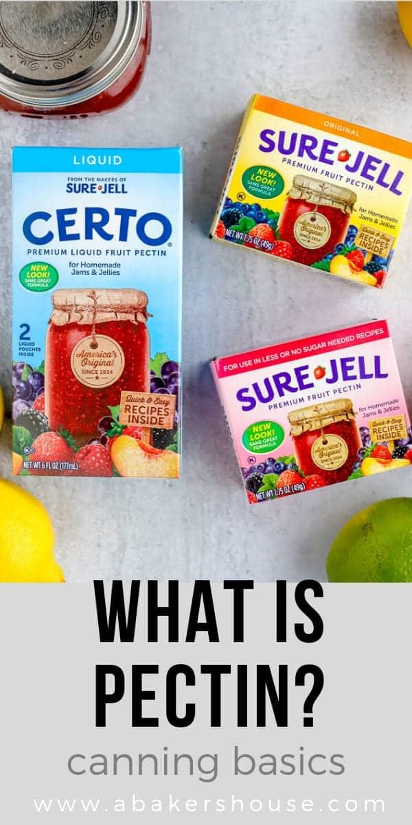 Three types of boxed pectin to make jam
