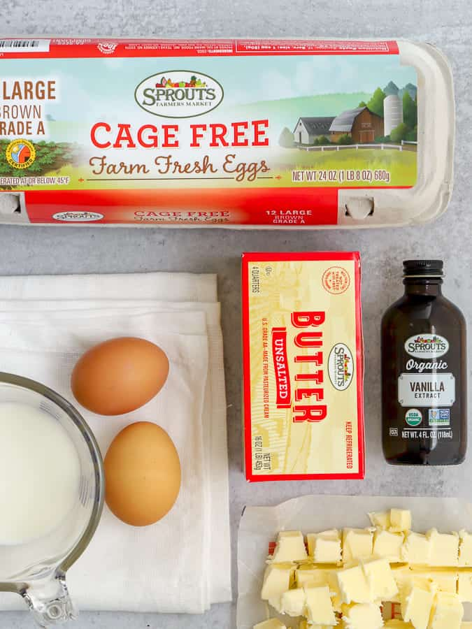Sprouts Farmers Market wet Ingredients for scones of butter eggs, vanilla