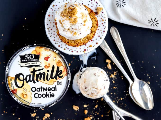 Overhead photo of vegan oatmeal cookie cups and frozen dessert scoops