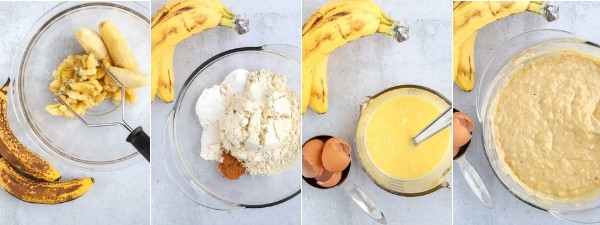 Step by step photos to make gluten free banana muffins