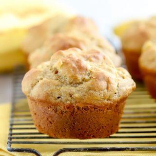 Gluten free banana muffin on wire baking rack
