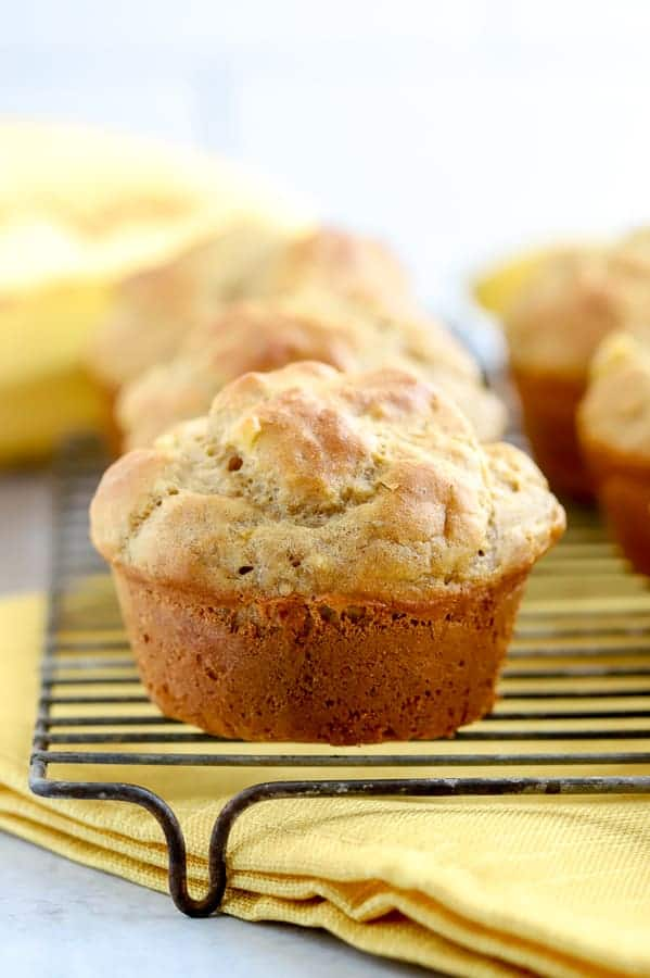Gluten free banana muffin on wire baking rack