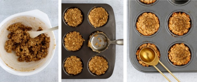 Three steps of making oatmeal cookie cups vegan and gluten free