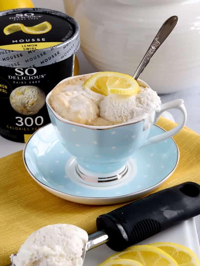 Vegan Tea Affogato with So Delicious Frozen Dessert in a blue tea cup