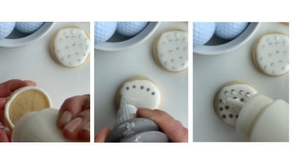Three photos showing step by step to decorate golf ball cookies with royal icing