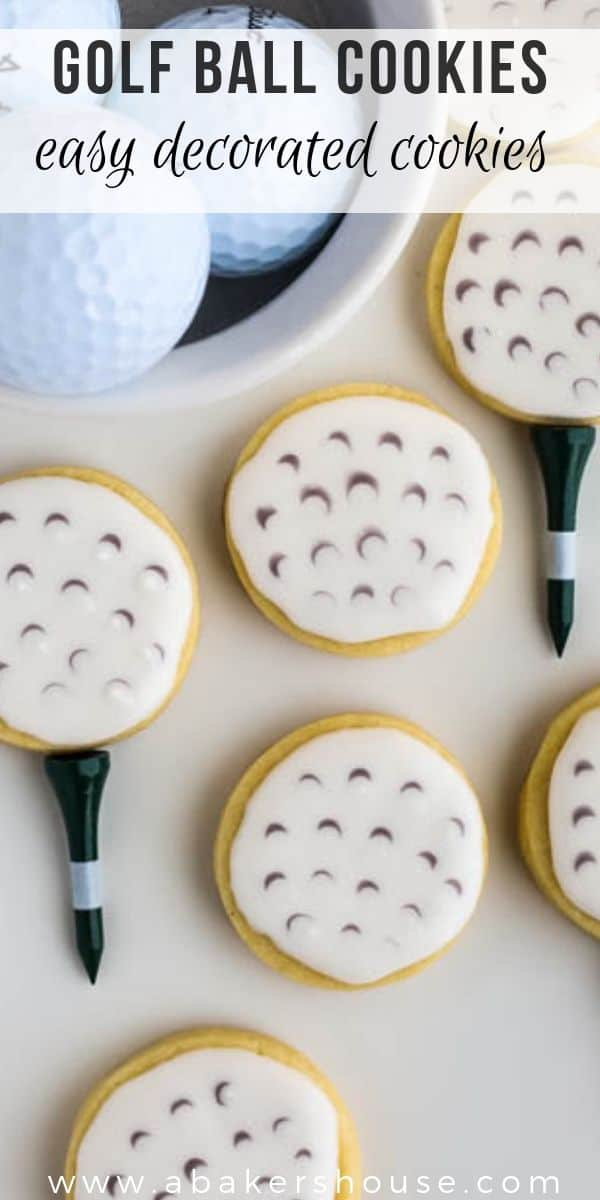 Learn how to make golf ball cookies with these easy steps and share these golf cookies with golf fans for celebrations like Father's Day, Mother's Day, teacher appreciation, golf themed birthday parties and golf parties! #abakershouse #golf #golfcookies #golfball #royalicing #decoratedcookie #sugarcookies #cutoutcookies