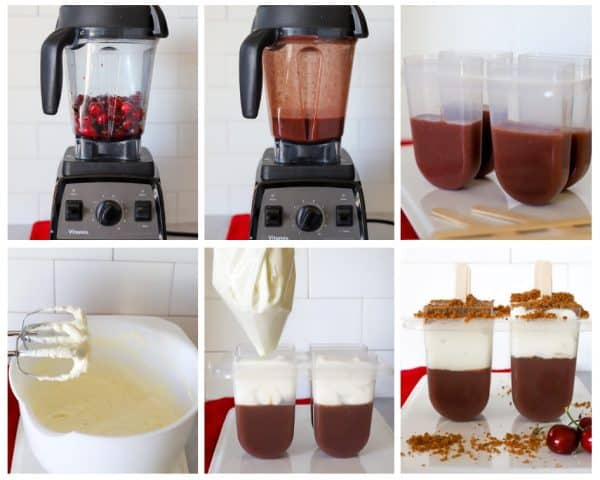 Six photos showing step by step of how to make cherry cheesecake popsicles