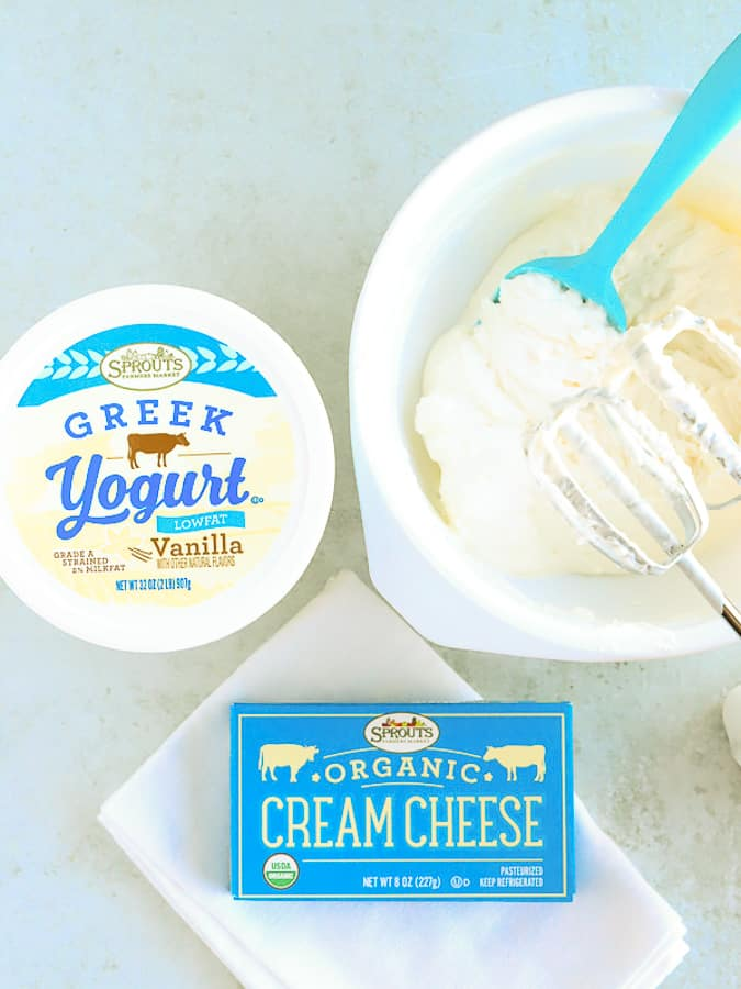 Filling for blintz of Greek vanilla yogurt and cream cheese