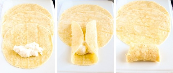 Steps to make a blintz with almond flour tortilla