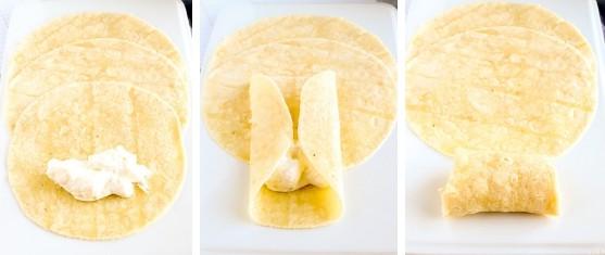 Steps to make a blintz with almond flour tortilla