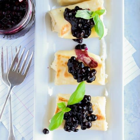 Overhead photo of blueberry blintz gluten free