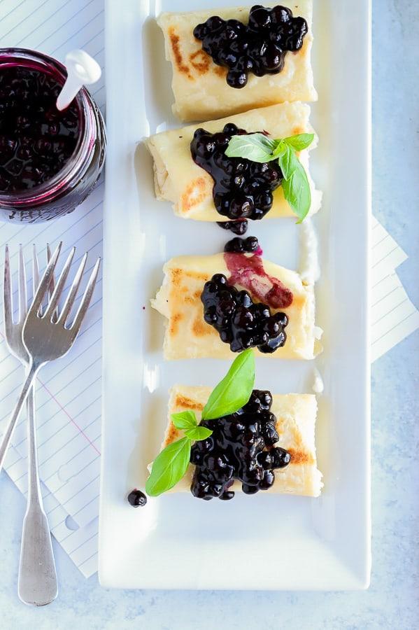 Overhead photo of blueberry blintz gluten free