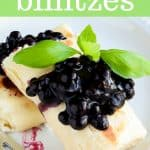 Pinterest image for blueberry blintzes
