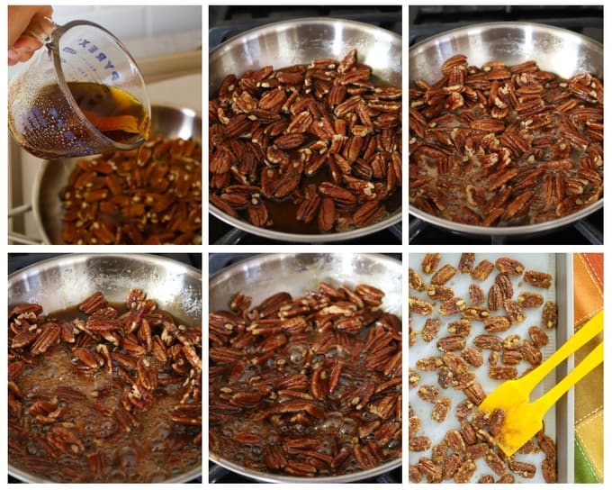 Six step by step photos to make candied pecans with maple syrup