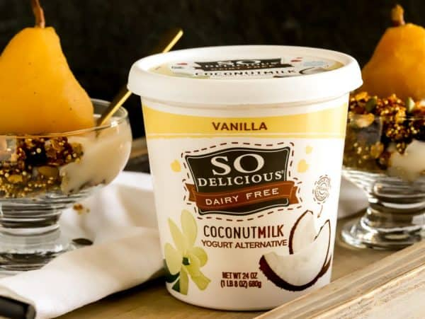 So Delicious Non dairy yogurt with two bowls of poached pears
