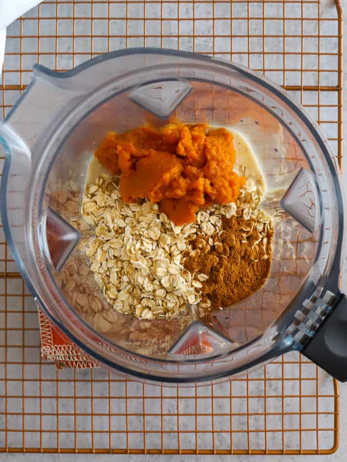 overhead view of Vitamix ingredients in blender for smoothie