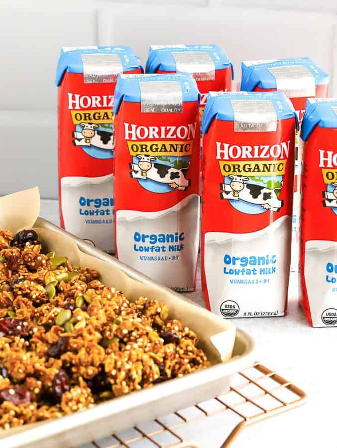 Pumpkin Granola on baking tray with Horizon Organic Milk Boxes