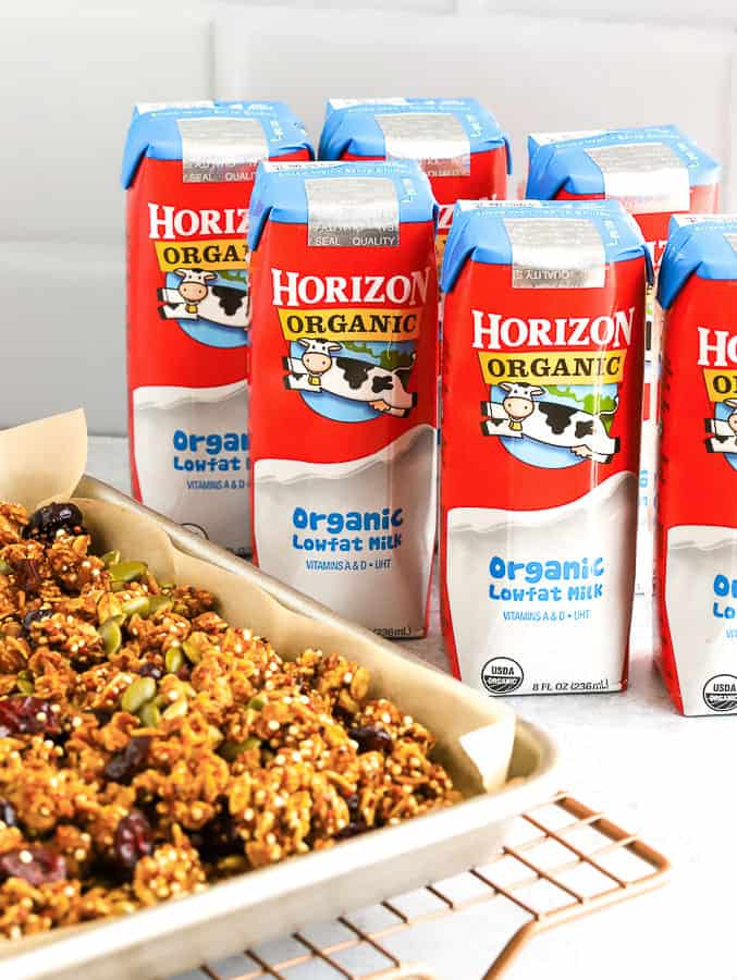 Pumpkin Granola on baking tray with Horizon Organic Milk Boxes