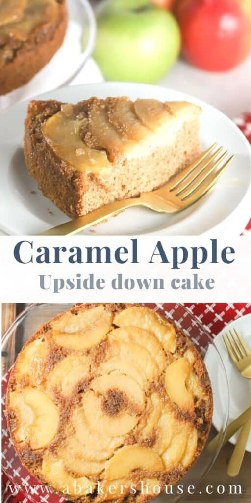 two images of slice of cake and whole upside down cake with apples