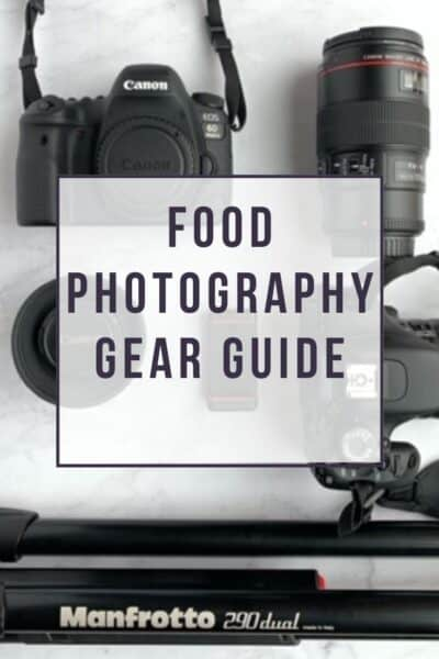 Overhead photo of camera, tripod, lenses for food photography gear