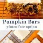 Pinterest two images for pumpkin bars gluten free option