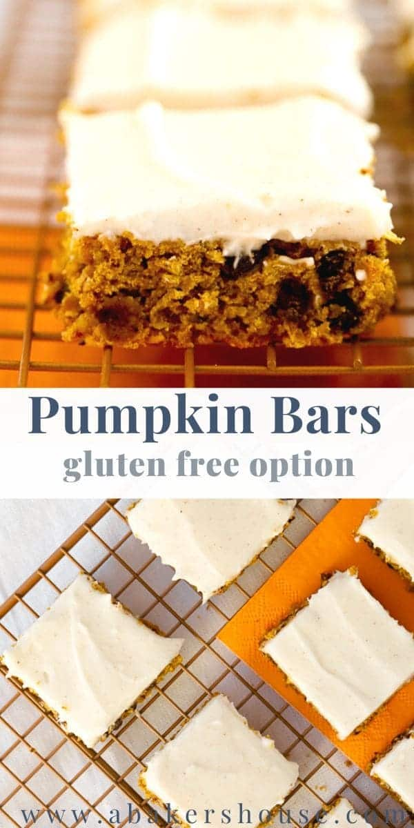 Gluten free pumpkin bars with cream cheese frosting are likely to be your most requested pumpkin dessert. These dense pumpkin bars studded with mini chocolate chips are the perfect gluten free dessert for your Thanksgiving table. #abakershouse #pumpkin #creamcheesefrosting #pumpkinspice #pumpkinpiespice #Thanksgiving #easydessert #pumpkinbrownies #pumpkinblondies #pumpkinsquares