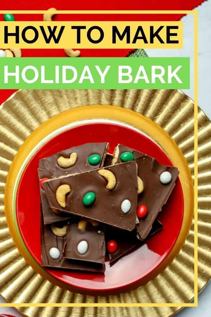 Cashew Chocolate Bark is an easy to make holiday treat! Start with gluten free graham crackers, add a layer of cashew butter and white chocolate, and top with a semi-sweet chocolate layer to create this no bake dessert. Make a double batch because holiday bark is perfect for gifts. #abakershouse #chocolatebark #cashews #SproutsBrand #sponsored #ad #candybark #holidaybaking #nobakedessert #homemadegift #teachergift #neighborgift #Christmasgift
