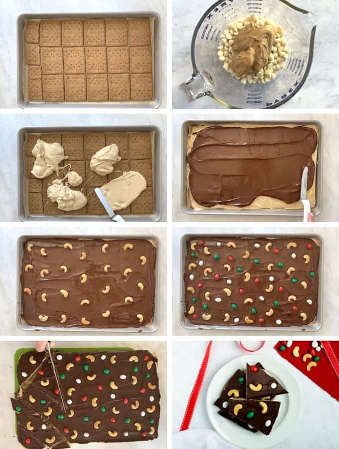 Steps of making cashew chocolate bark in 8 images