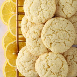 Almond flour lemon cookies with slices of meyer lemons