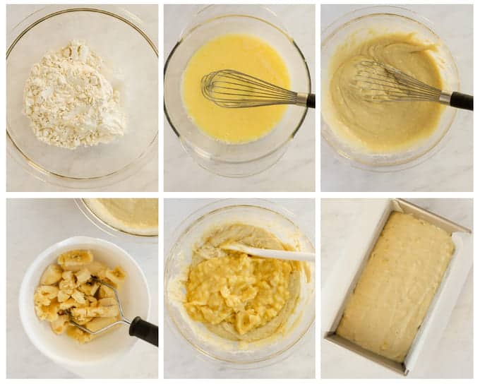 Step by step photos of making banana bread gluten free