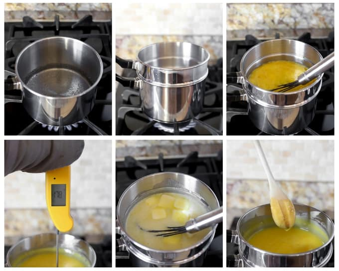Six photos showing steps to make meyer lemon curd over double boiler