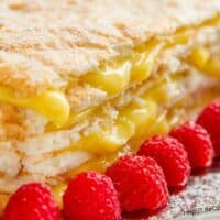 Coconut Meringue Cake with Lemon Curd Filling