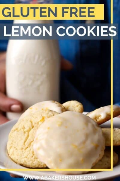 Pinterest image of bottle of milk and plate of iced lemon cookies