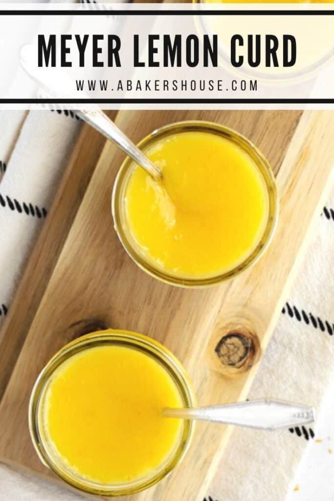 Pinterest image of overhead lemon curd in jars