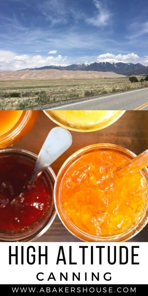 Two images of mountains and jars of jam for high altitude canning