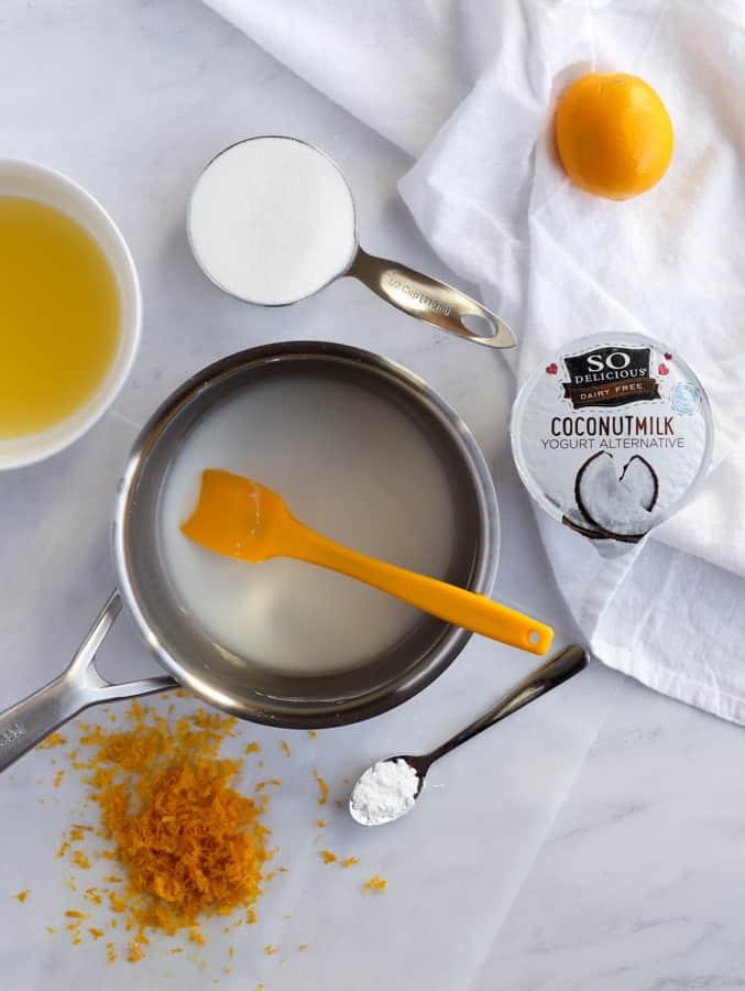 vegan lemon curd ingredients of sugar, lemons, coconutmilk yogurt