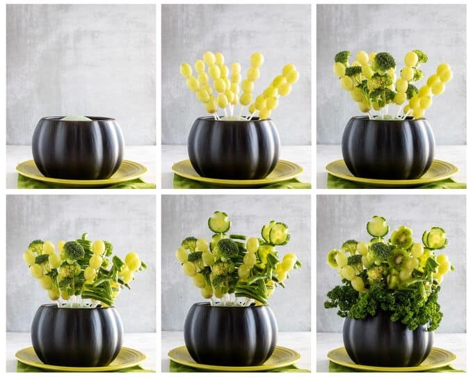 Step by step photos showing how to make edible fruit and vegetable arrangement for St Patricks Day