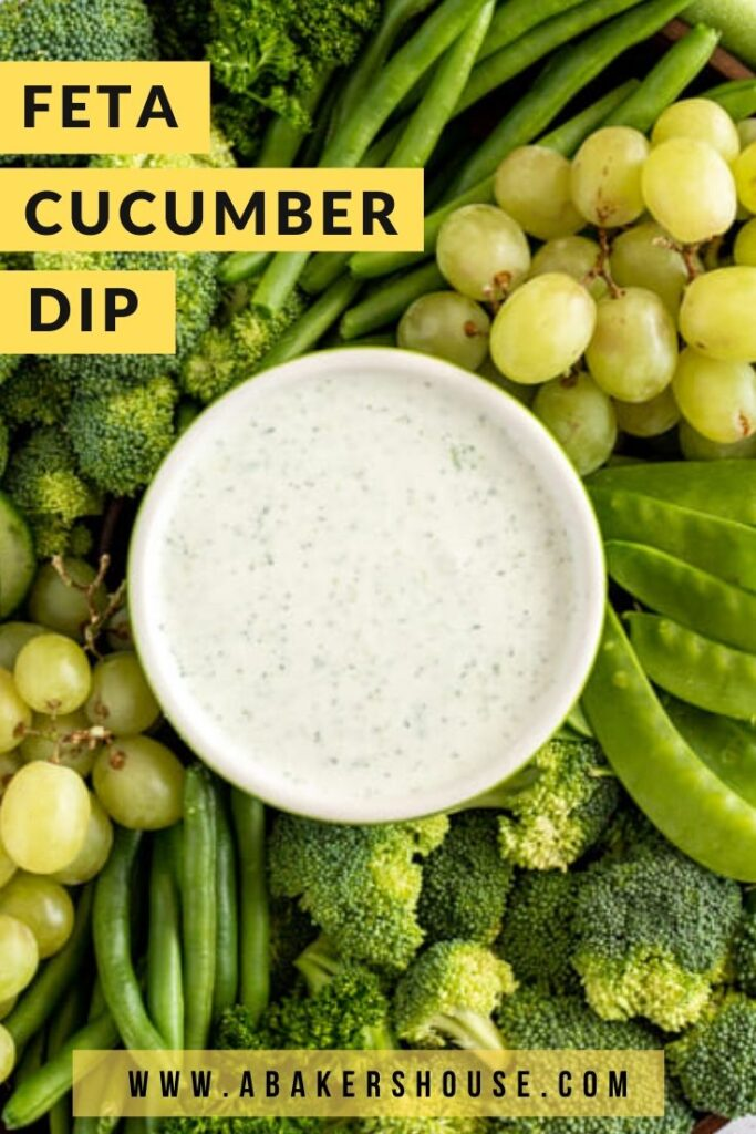 Feta Cucumber Dip with green fruits and vegetables on a platter