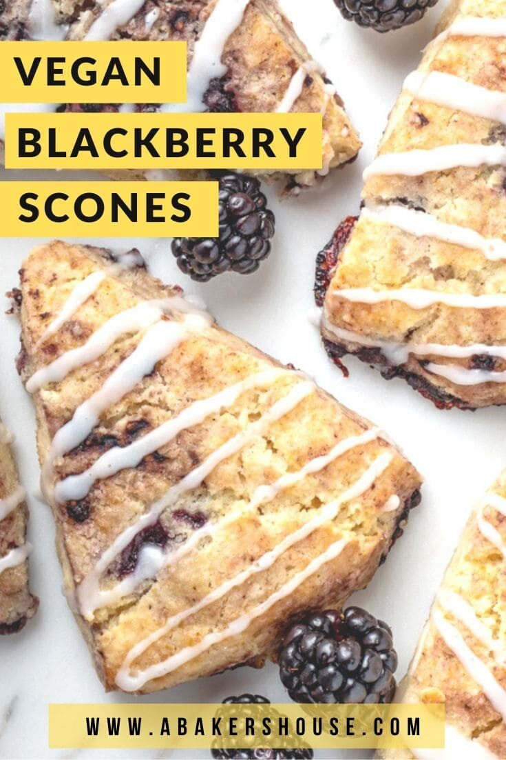 Making homemade scones takes me right back to my first trip to England twenty years ago. Vegan blackberry scones are a dairy free and gluten free version of this traditional English treat. Drizzle with a dairy free icing to create the perfect sweet bite! #sponsored #SoDeliciousDairyFree #vegan #LoveSprouts #abakershouse #blackberries #scones #veganbreakfast #glutenfree #glutenfreebreakfast #brunch #tea #teatime #britishrecipe