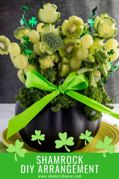 Pinterest graphic for St patrick's day fruit and vegetable arrangment
