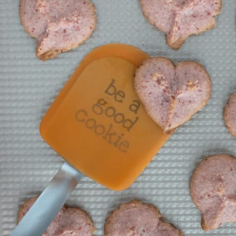 Orange spatula Be a Good Cookie with heart cookies