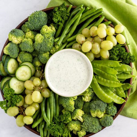 Cucumber Feta dip with green fruits and veggies