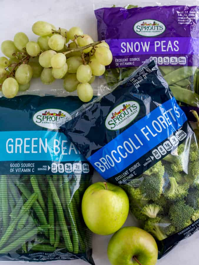 Green vegetables in packages from Sprouts Farmers Market