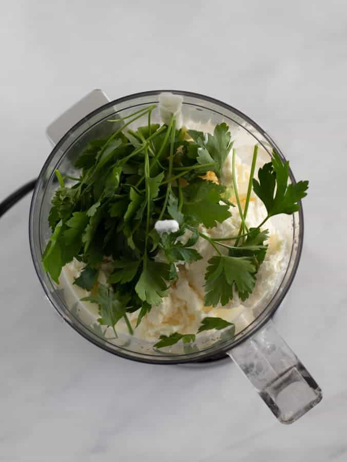 ingredients for feta cucumber dip in food processor