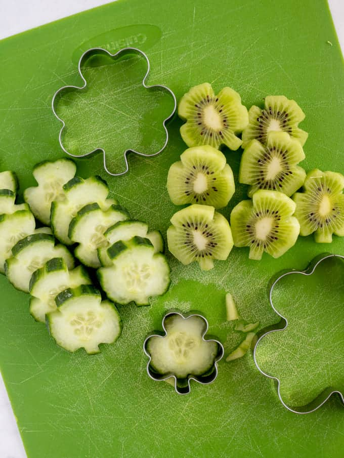 Shamrock fruits cut out with cookie cutter