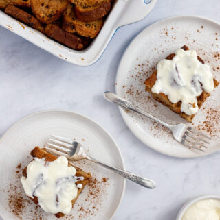 Gluten free cinnamon french toast on two plates with forks
