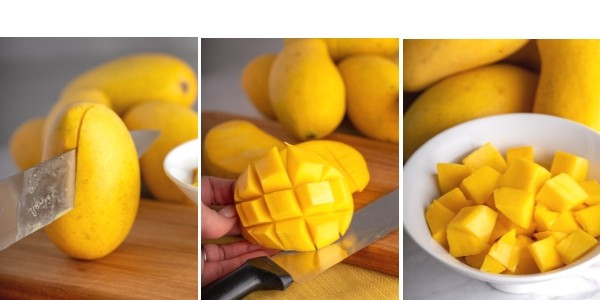 three photos showing steps to cut and dice mango