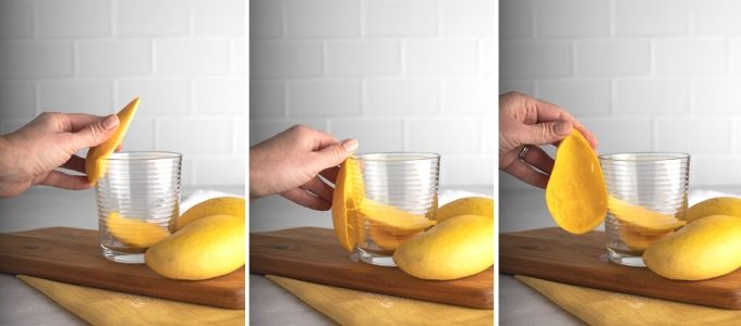 three photos showing how to cut mango with a glass