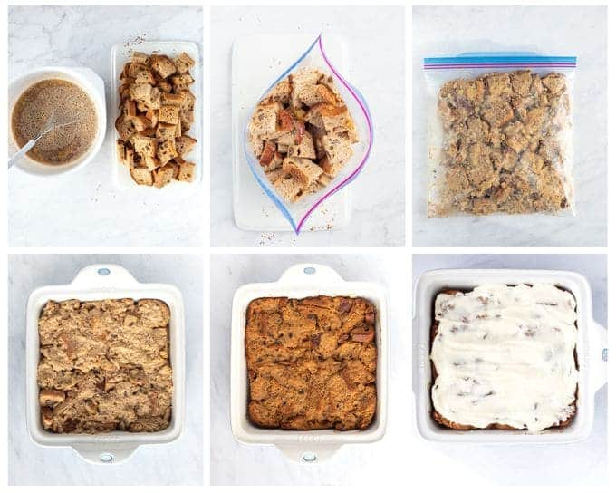 Six photos showing steps to make french toast bake