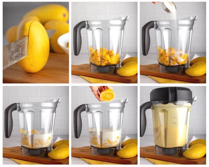 steps showing how to make mango gelato with vitamix blender